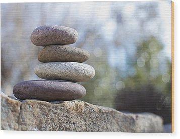 Zen Stones Wood Print by Ben ONeal