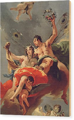 Zephyr And Flora Wood Print by Giovanni Battista Tiepolo