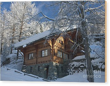 Zermatt Chalet Wood Print by Brian Jannsen