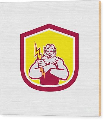 Zeus Greek God Arms Cross Thunderbollt Retro Wood Print by Aloysius Patrimonio