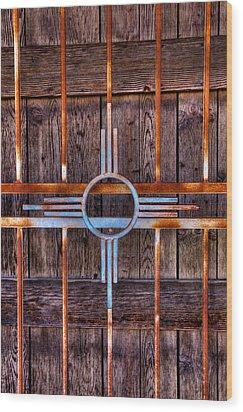 Zia Sun Symbol Gate Wood Print by David Patterson