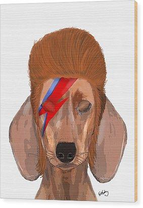 Ziggy Aladdin Sane Dog Wood Print by Kelly McLaughlan