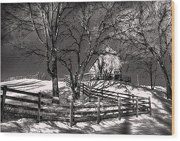 Zigzag Fencerow Wood Print by William Fields