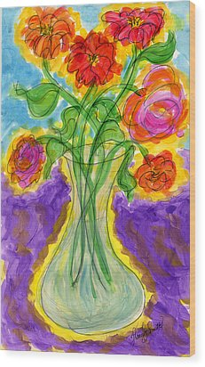 Zinnias And Roses Wood Print by Tracy W Smith