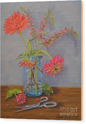 Zinnias From The Garden Wood Print