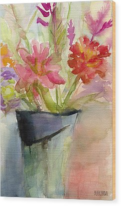 Zinnias In A Vase Watercolor Paintings Of Flowers Wood Print