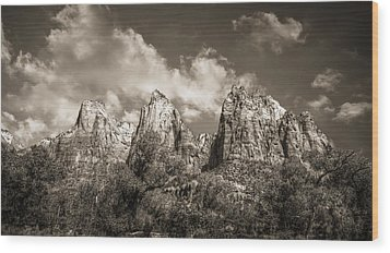 Wood Print featuring the photograph Zion Court Of The Patriarchs In Sepia by Tammy Wetzel