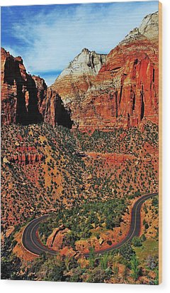 Zion Hairpin Wood Print by Benjamin Yeager