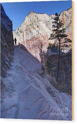 Zion National Park Hiker Climbs Hidden Canyon Trail Wood Print by Gary Whitton