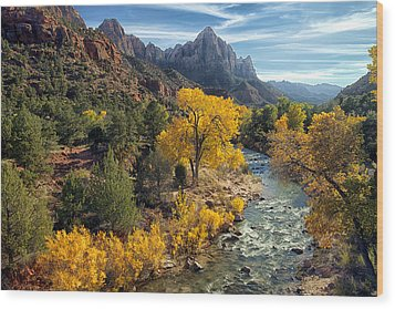 Zion National Park In Fall Wood Print