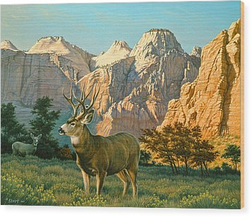 Zioncountry Muleys Wood Print by Paul Krapf