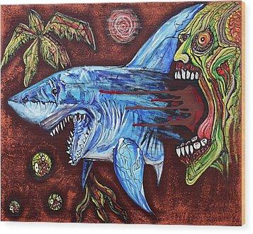 Zombie Eats Shark Wood Print by Laura Barbosa
