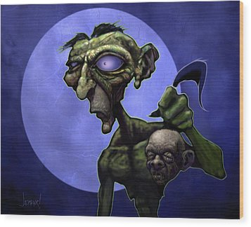 Zombie Head-hunter Wood Print by Jephyr Art