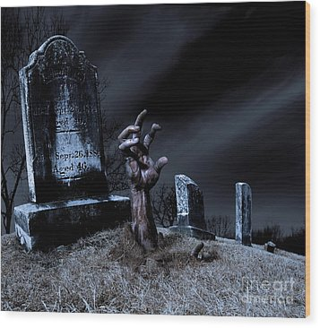 Zombie Rising From The Grave Wood Print by Diane Diederich