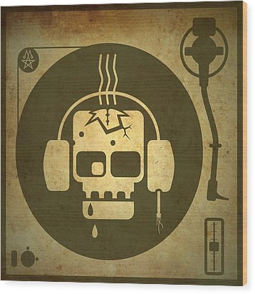 Wood Print featuring the digital art Zombie Turntable by Milton Thompson