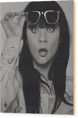 Zooey Deschanel Wood Print by Chrissy Eckman