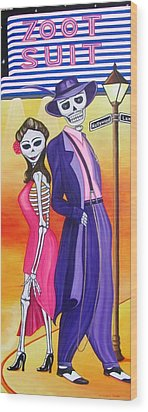 Wood Print featuring the painting Zoot Suit by Evangelina Portillo
