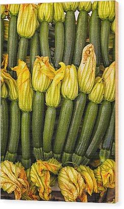 Zucchini Flowers Closeup Wood Print