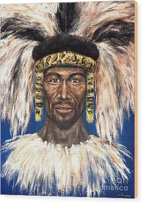 Wood Print featuring the painting Zulu Warrior by Arturas Slapsys