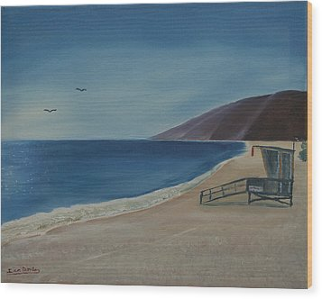 Zuma Lifeguard Tower Wood Print by Ian Donley