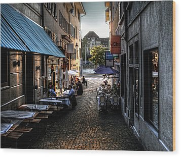 Wood Print featuring the photograph Zurich Old Town Cafe by Jim Hill