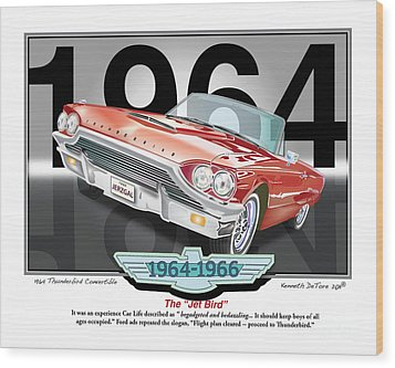 1964 Thunderbird Wood Print by Kenneth De Tore