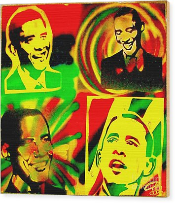 4 Rasta Obama Wood Print by Tony B Conscious