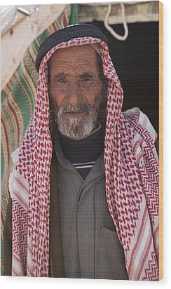A Bedouin Man At The Camera In Front Wood Print by Taylor S. Kennedy