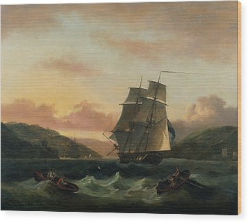 A Brigantine In Full Sail In Dartmouth Harbour Wood Print by Thomas Luny