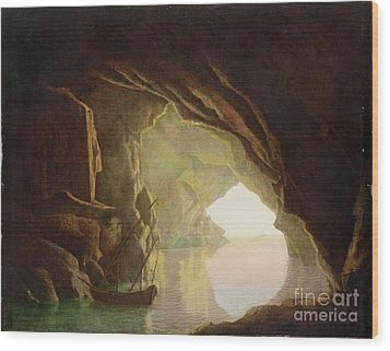 A Grotto In The Gulf Of Salerno - Sunset Wood Print by Joseph Wright of Derby