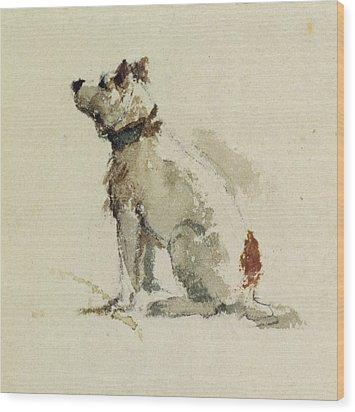 A Terrier - Sitting Facing Left Wood Print by Peter de Wint