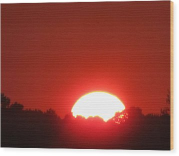 Wood Print featuring the photograph  A Very Red Summer Sunset by Tina M Wenger