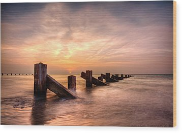 Wood Print featuring the photograph  Abermaw Sunset by Beverly Cash