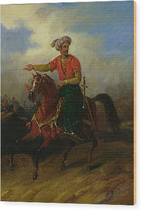 An Ottoman On Horseback  Wood Print by Charles Bellier
