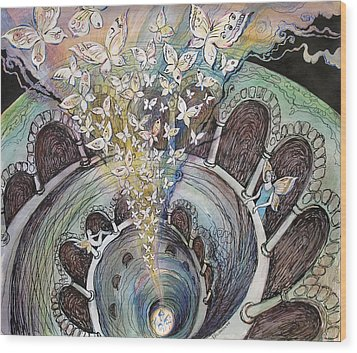 Ascension Of Butterflies Wood Print