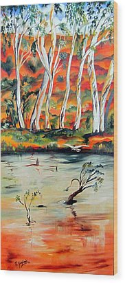 Wood Print featuring the painting  Aussiebillabong by Roberto Gagliardi