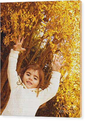 Baby Girl In Autumn Park Wood Print by Anna Om