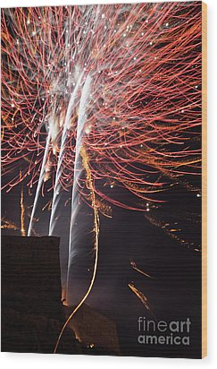 Bastille Day Fireworks Wood Print by Sami Sarkis