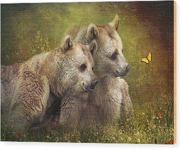 Bear Hugs Wood Print by Trudi Simmonds
