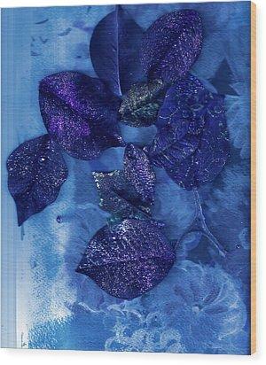 Blue Leaves In Memory  Wood Print by Anne-Elizabeth Whiteway