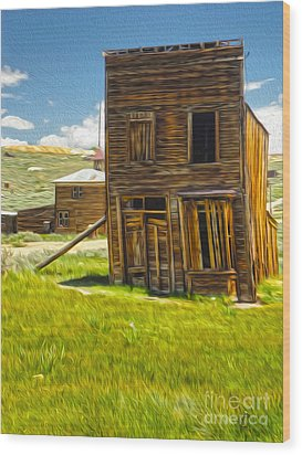 Bodie Ghost Town - Bent House 02 Wood Print by Gregory Dyer