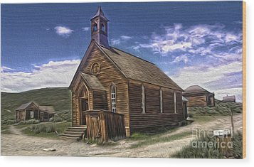 Bodie Ghost Town - Church 02 Wood Print by Gregory Dyer
