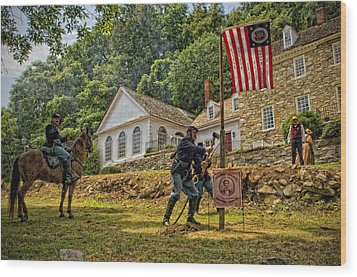 Cutting Down The Yankee Flag Pole Wood Print by Boyd Alexander