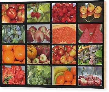 Fruits Collage Wood Print by Yumi Johnson