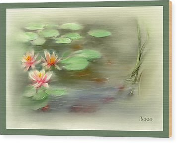 Wood Print featuring the painting  Gold Fish Pond by Bonnie Willis