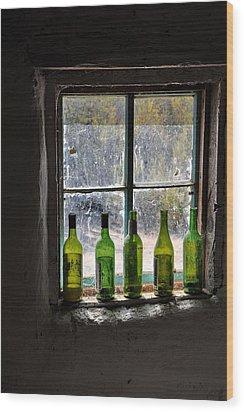 Green Bottles In Window Wood Print