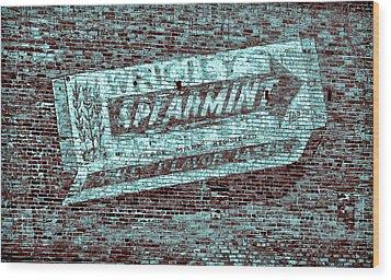 Gum On Brick Blue Wood Print by Tony Grider