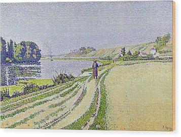 Herblay La River  Wood Print by Paul Signac