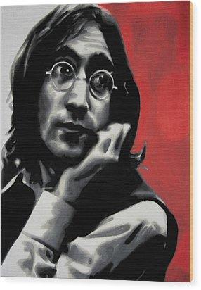 - Imagine - Red Detail - Wood Print by Luis Ludzska