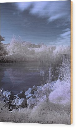 Wood Print featuring the photograph  Infrared Pond by Beverly Cash